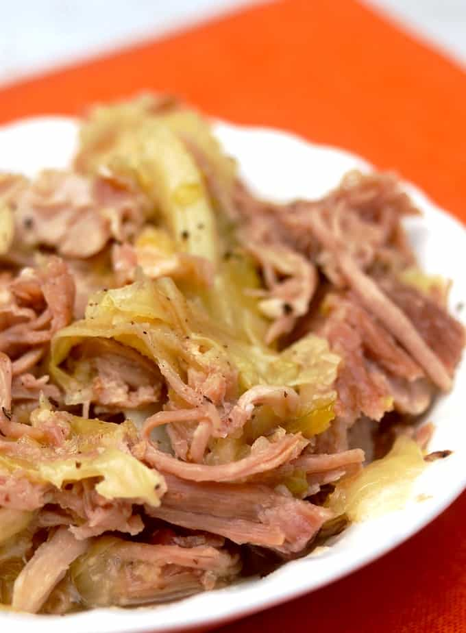 Serving bowl with shredded Hawaiian Kalua pork and cabbage