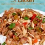 Slow cooker creole white beans with chicken over rice in a bowl.