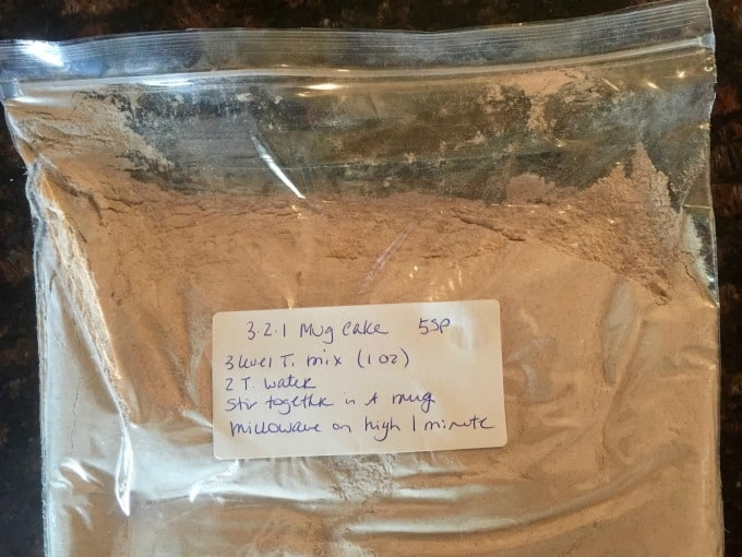 Low calorie 3-2-1 cake mix in a plastic ziploc bag with label with instructions