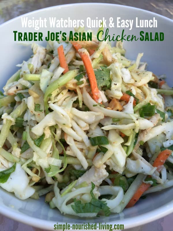 close up of Asian Chicken Salad with shredded cabbage, chicken and fresh cilantro.