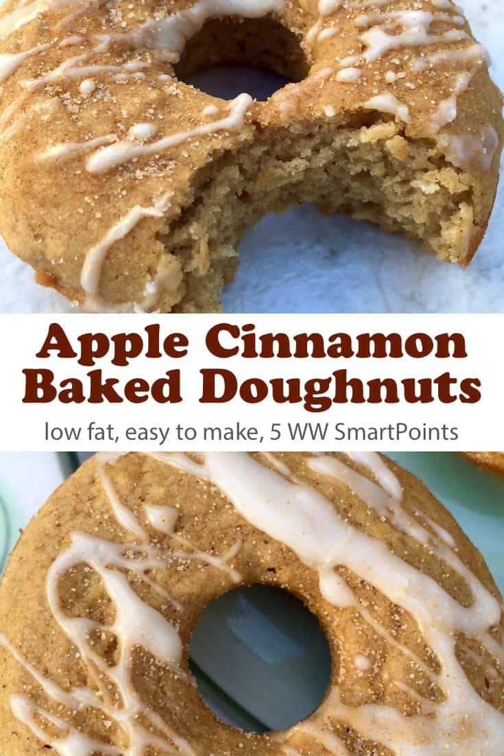 These low-fat WW friendly baked apple cinnamon donuts satisfy my sweet tooth without resulting in a sugar high/crash - only 148 calories and 5 Weight Watchers Freestyle SmartPoints! #simplenourishedliving #weightwatchers #wwfamily #ww #wwfreestyle #smartpoints #wwsmartpoints #wwsisterhood #easyhealthyrecipes #donuts #dougnuts #breakfast #brunch