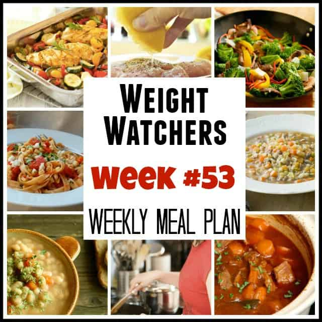 Weight Watchers Weekly Menu Week 53 with recipes and points plus values