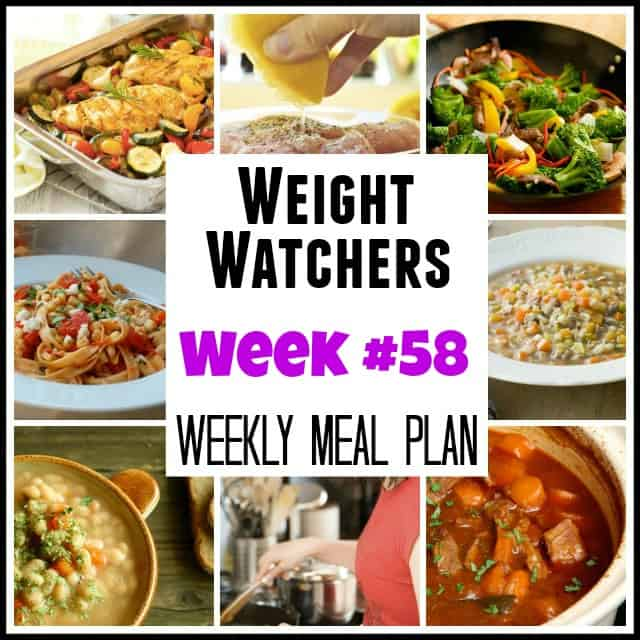 Weight Watchers Weekly Meal Plan Week 58