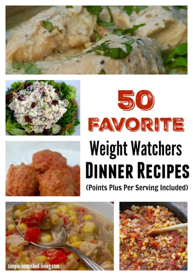 50 Favorite Weight Watchers Dinner Recipes with Points Plus Values Per Serving