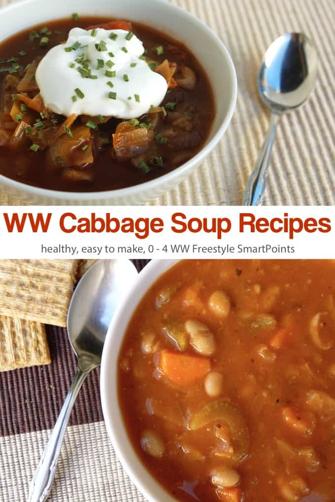 Weight Watchers Sweet & Soup Cabbage Soup in a bowl and WW Slow Cooker Bean & Cabbage Soup in a bowl