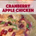 Slow cooker cranberry apple chicken on dinner plate with fresh apple and cranberries in the background.