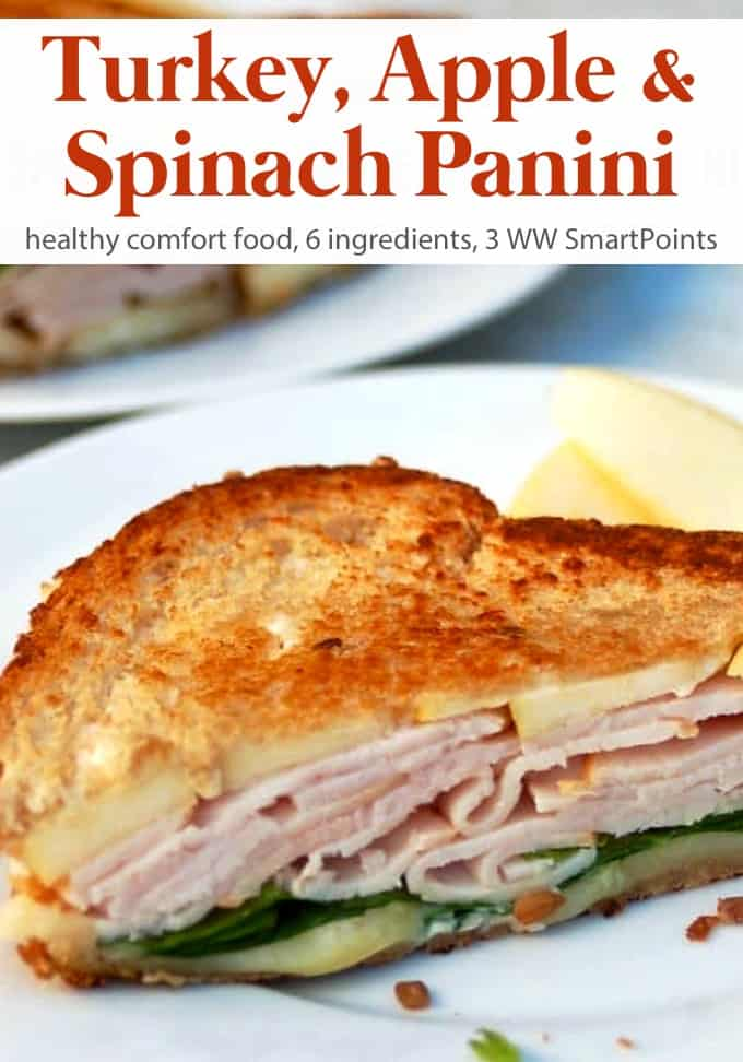 What's not to like about thinly sliced apples, smoked turkey, spinach & cheddar cheese layered between spicy mayo smeared multigrain bread and grilled until toasty and melty? #spicyturkeyapplepanini #panini