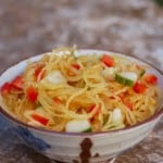 Easy Healthy Asian Spaghetti Squash Salad Recipe 0 Weight Watchers SmartPoints ceramic bowl marble background