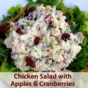 Healthy Chicken Salad with Celery, Cranberries and Apples