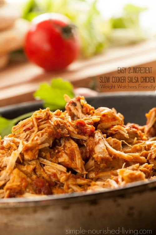 easy 2 ingredient slow cooke salsa chicken weight watchers smart points