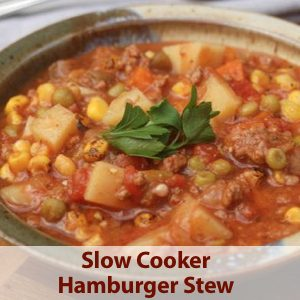 ... Slow Cooker Hamburger Stew , made with ground beef, tomatoes, and