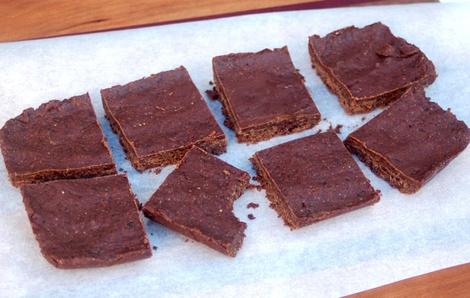 No-Bake Brownies on parchment paper