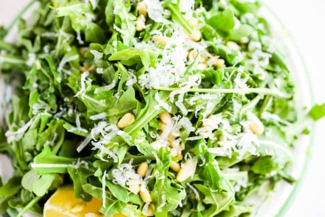 Arugula Salad with Sunflower Seeds and Parmesan close up from above