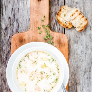 Skinny Slow Cooker Smoked Salmon Potato Leek Soup - 4 Weight Watchers SmartPoints