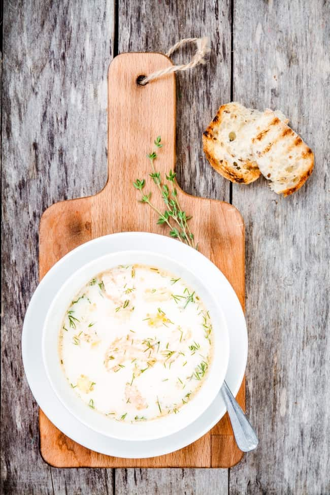 Slow Cooker Smoked Salmon Potato Leek Soup - 4 Weight Watchers SmartPoints