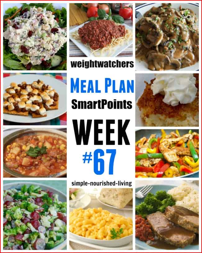 Weight Watchers Weekly Meal Plan 67 SmartPoints