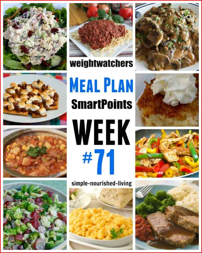 Weight Watchers Weekly Meal Plan 71 SmartPoints