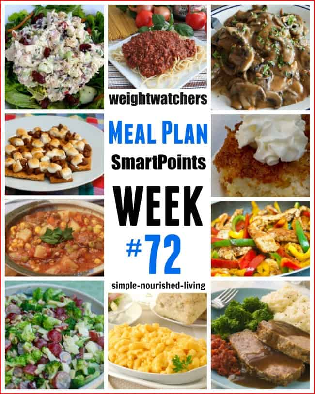 Weight Watchers Weekly Meal Plan 72 SmartPoints
