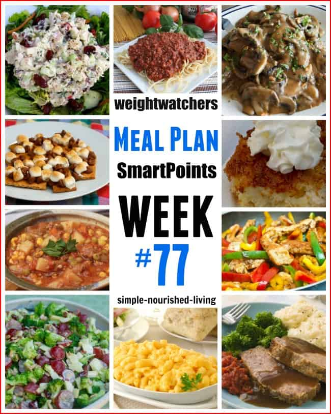 Weight Watchers Weekly Meal Plan 77 SmartPoints