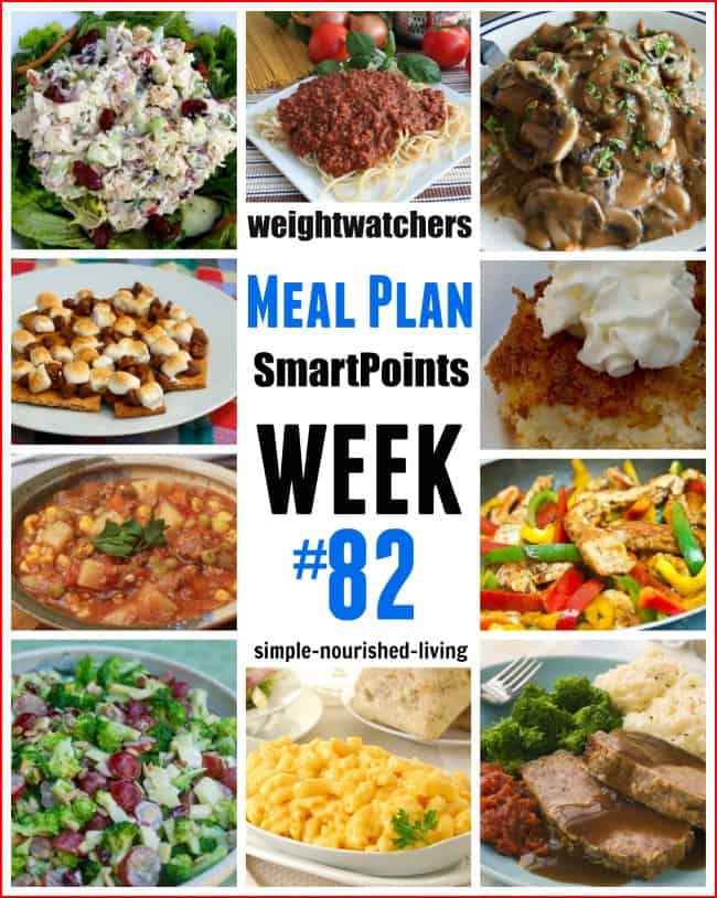 Weight Watchers SmartPoints Weekly Dinner Meal Plan