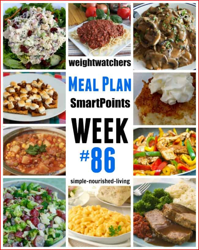 Weight Watchers SmartPoints Dinner Plan Week 86
