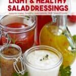 Bottles of various healthy homemade salad dressings.