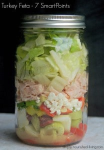 Greek Turkey Feta Salad in a Jar 7 SmartPoints