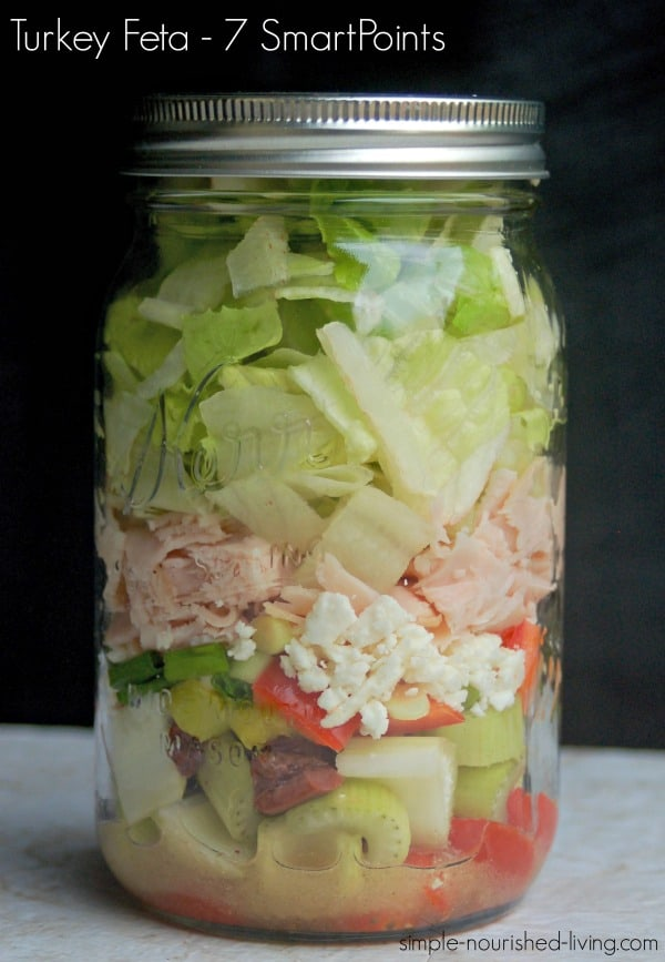 Greek Turkey Feta Salad in a Jar