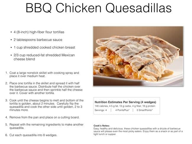 Favorite Comfort Foods Sample Recipe Page for BBQ Chicken Quesadillas