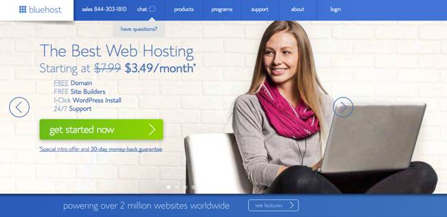 Bluehost Website Hosting step 01