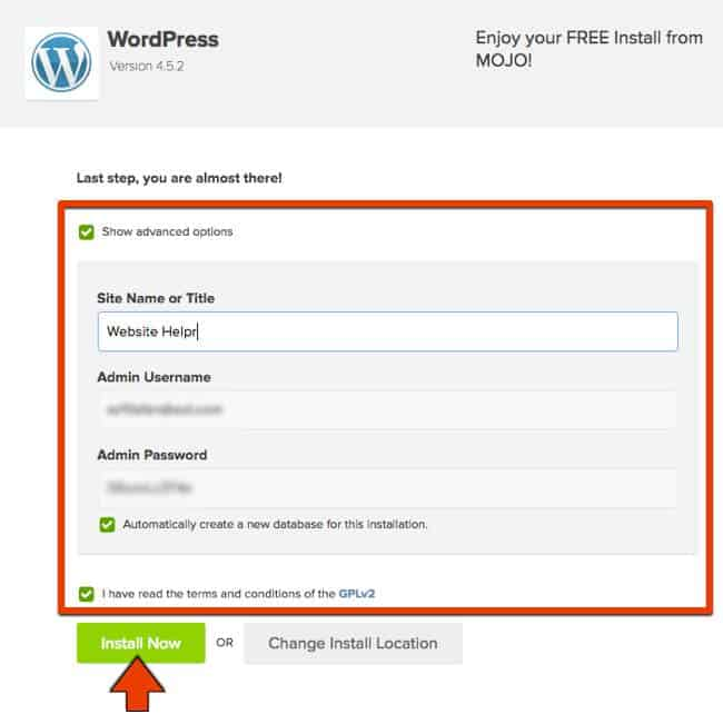 Bluehost WordPress Install step 04