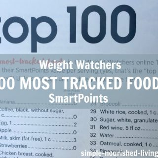 Weight Watchers Top 100 Most Tracked Foods with SmartPoints