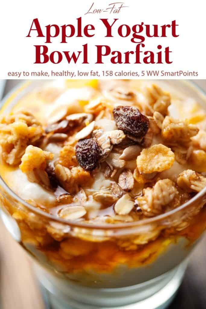 Apple yogurt bowl parfait with granola in glass dish.