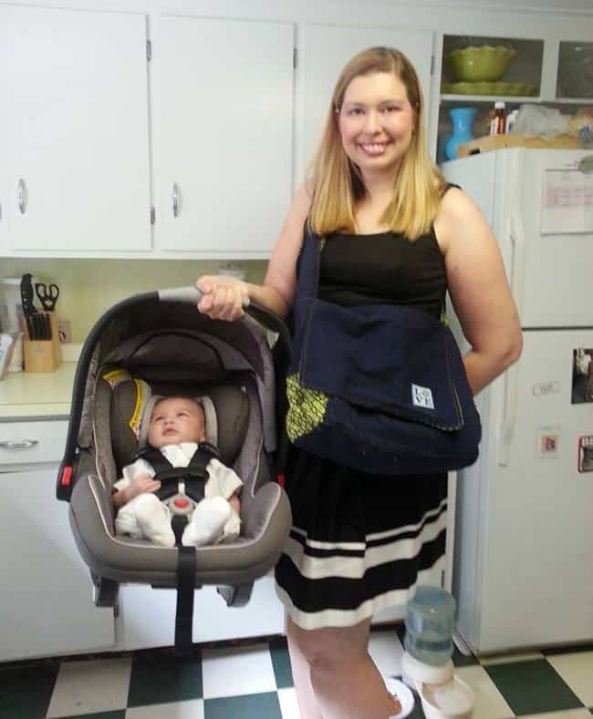 Cori M. and Newborn Son Before Weightloss