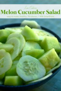 Honeydew Melon Cucumber Salad in blue bowl.