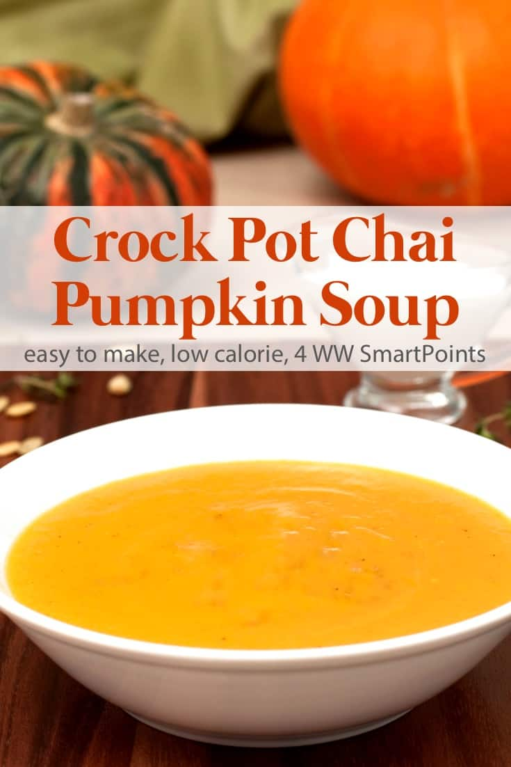Warming and delicious, this easy chai pumpkin soup is perfect for chilly fall days and makes a great start to Thanksgiving dinner. #crockpotchaipumpkinsoup #pumpkin