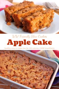 Three slices of slow cooker apple cake on white plate near baking pan with apple cake.