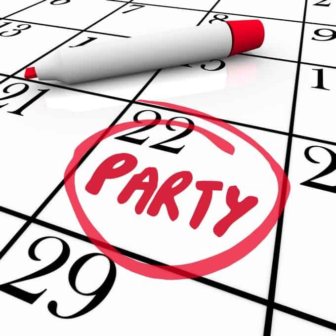The word Party written on a calendar and circled in red to remind you of the day and date of a special celebration or event