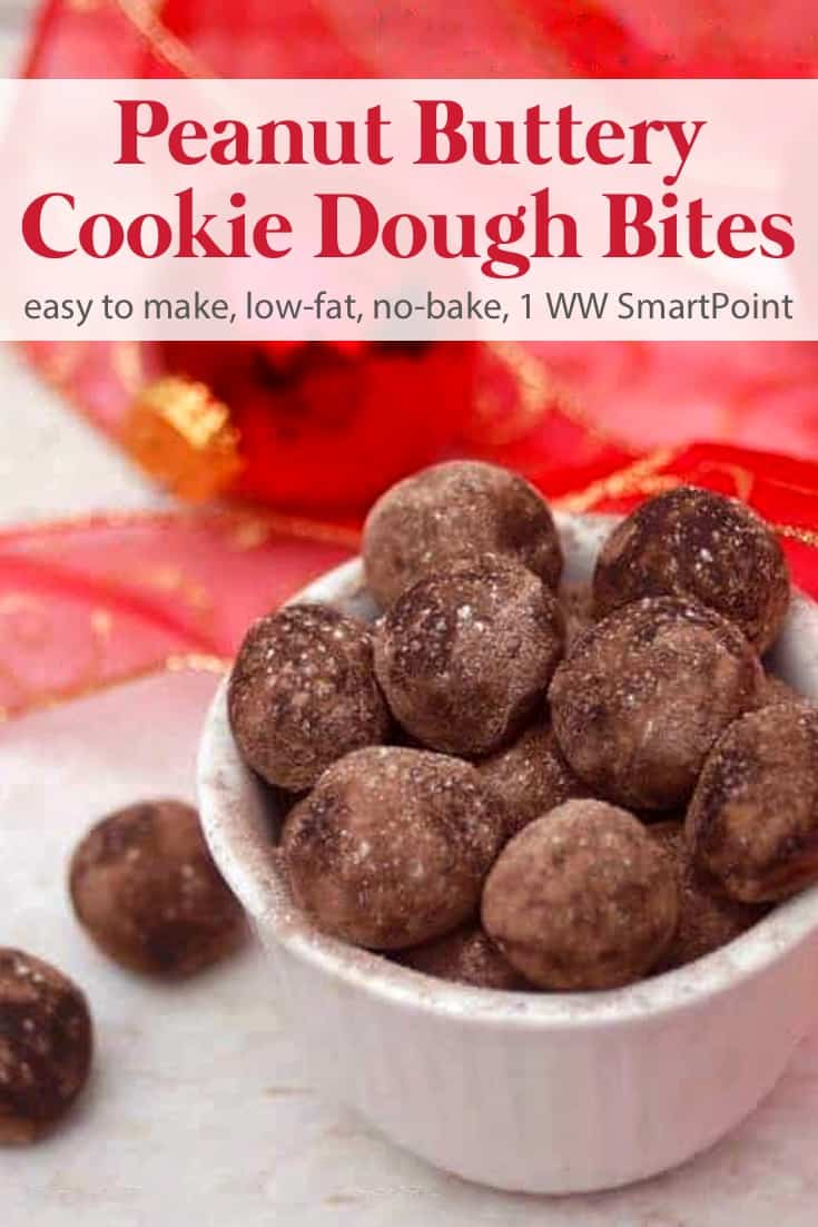 Light & creamy no-bake peanut buttery cookie dough bites are sure to satisfy you with fewer calories! #peanutbutterycookiedoughbites #nobake