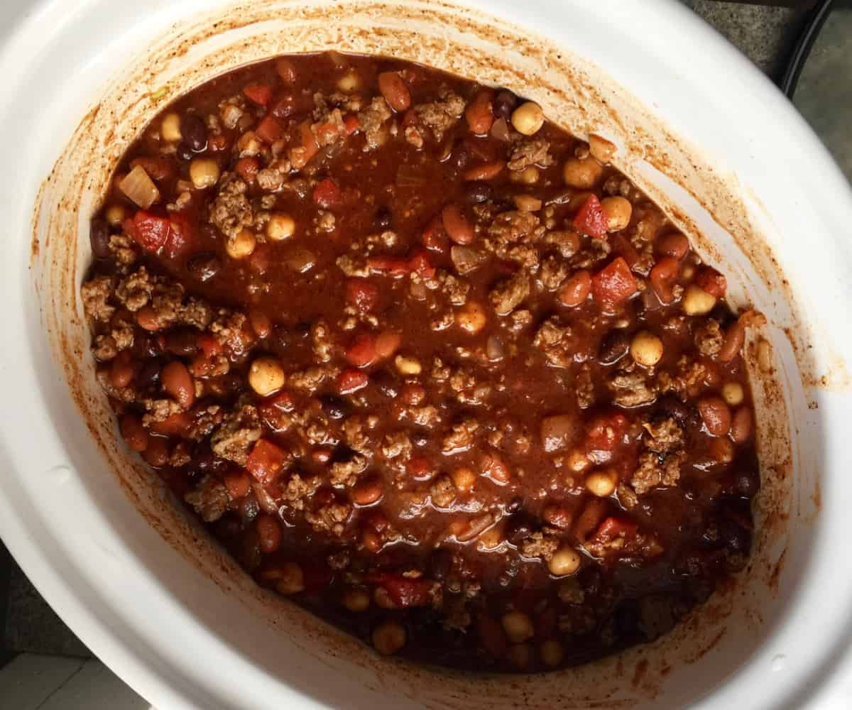 Slow Cooker 3 Bean Turkey Sausage Chili Simple Nourished Living