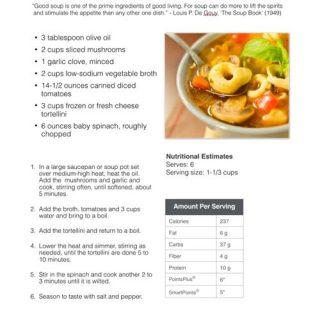 Tortellini Soup Sample Recipe Page