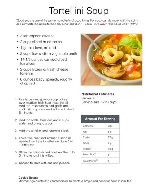 Tortellini Soup Sample Recipe Page