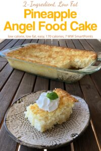 Piece of pineapple angel food cake with whipped topping near cake pan on wooden table.