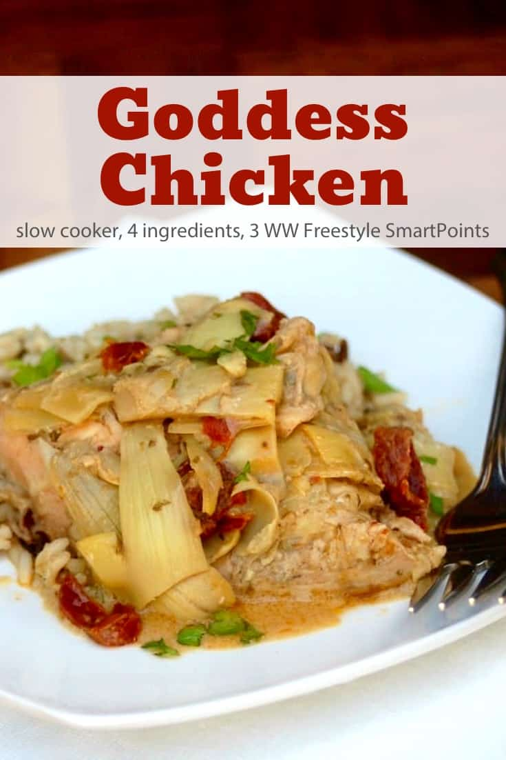 Simple and delicious with just 4 Ingredients, this skinny slow cooker goddess chicken with sundried tomatoes and artichoke hearts is a low-carb winner - only 218 calories and 3 Weight Watchers Freestyle SmartPoints! #simplenourishedliving #weightwatchers #wwfamily #ww #wwsisterhood #slowcooker #crockpot #smartpoints #wwfreestyle #wwsmartpoints #easyhealthyrecipe #becauseitworks