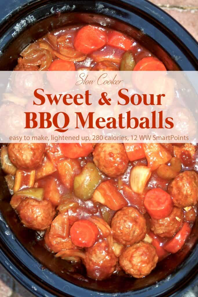 Crock pot with batch of sweet and sour bbq meatballs.