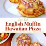 English muffin Hawaiian pizza on white plate with side salad.