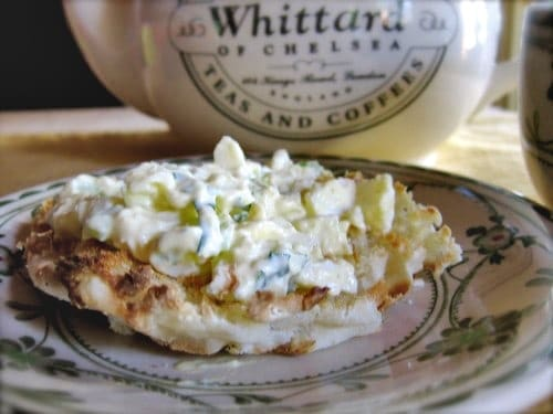Open-Faced Egg Salad Breakfast Sandwich on English muffin