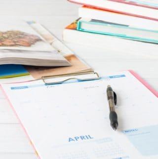 blank meal planning calendar & Pen