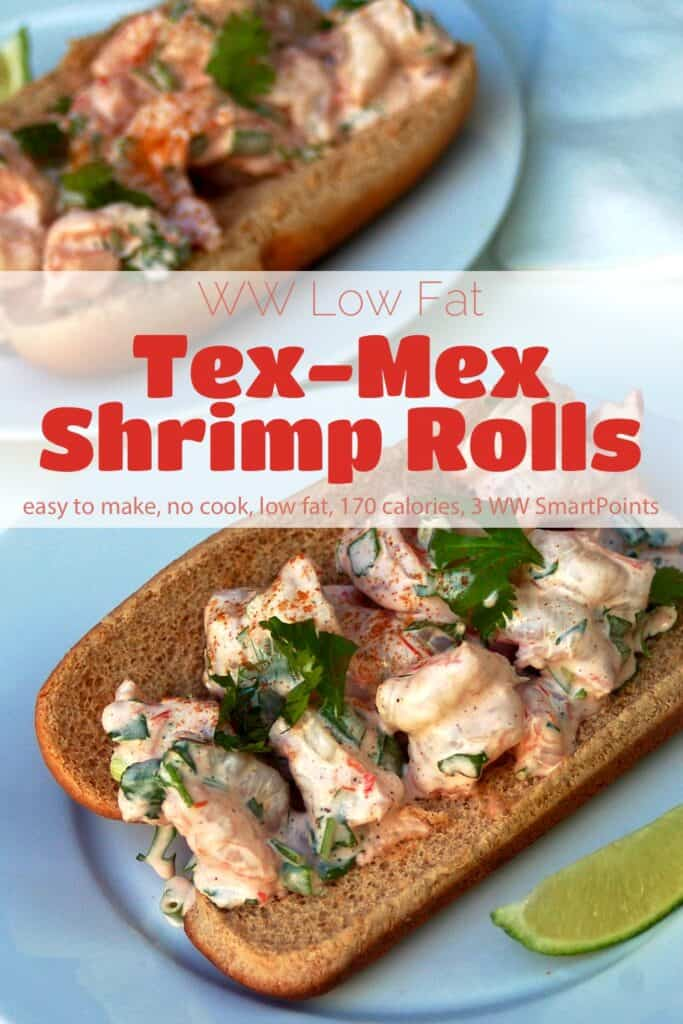 Low Fat Tex-Mex Shrimp Roll on small plate with lime wedge.