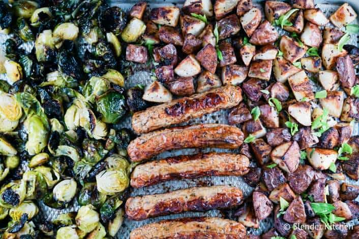 sheet pan with sausages, potatoes and brussels sprouts